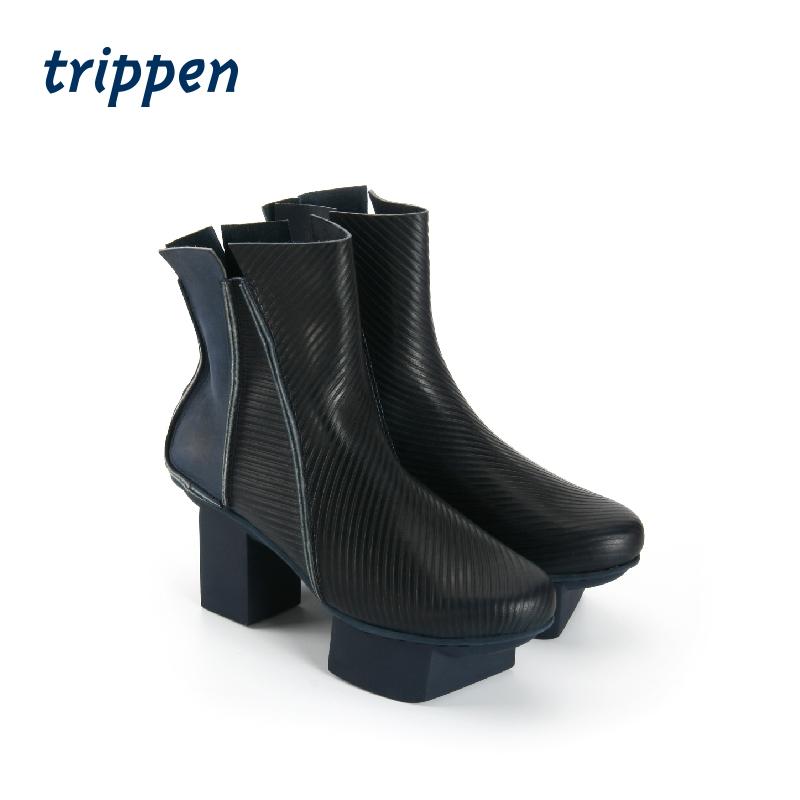 trippen德国2020新款设计师手工制女粗跟短靴拉链高跟款 Streaker