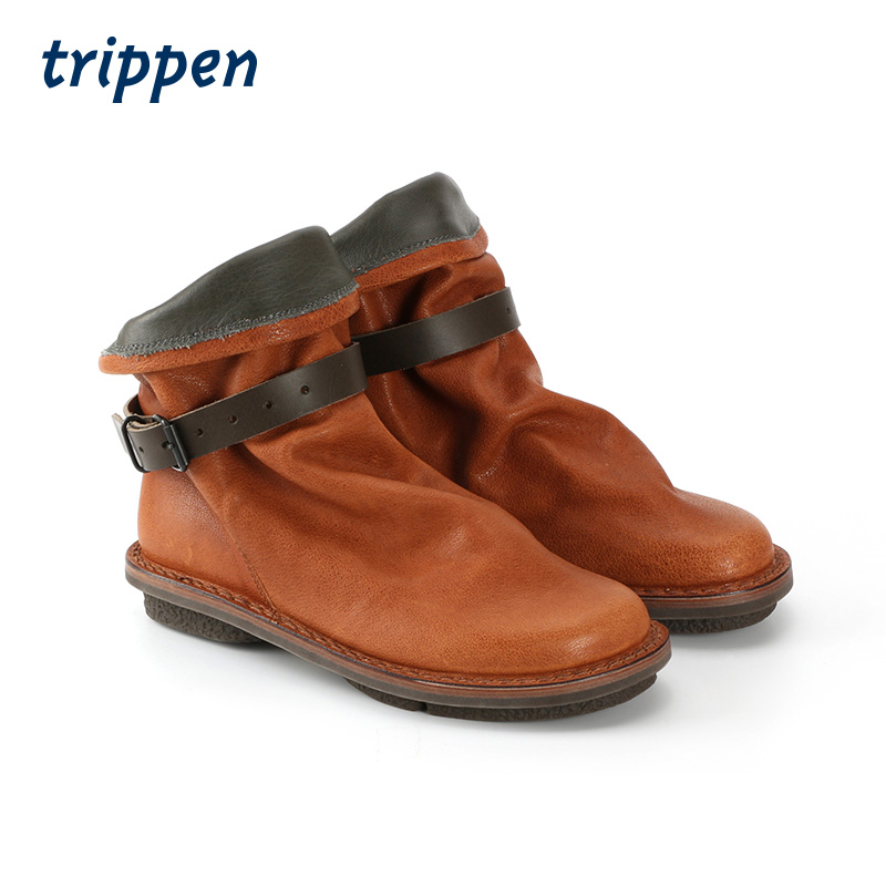 Trippen Germany design manual 2020 Booties with flip buckle flat heel cow leather womens Booties bomb
