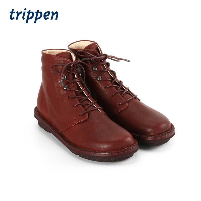 Trippen German handmade 2020 womens classic round head Casual Short Boots lace up flat bottom fashion boots snug
