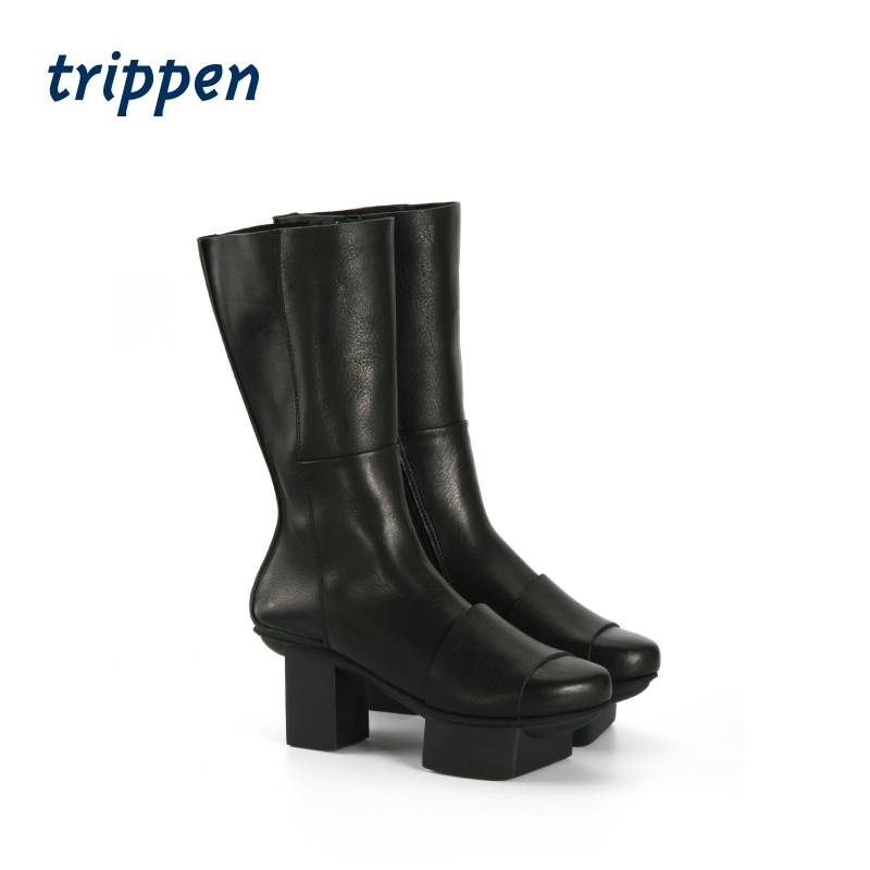 Trippen German design handmade 2020 womens zipper middle sleeve boots thick heel leather high and low heels Blues