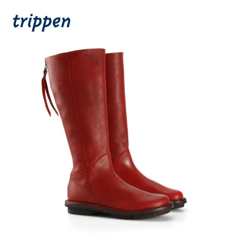 trippen德国2020新设计手工制作女款长靴拉链高筒靴圆头平底 Wall