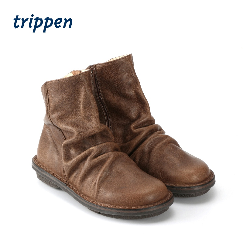 Trippen Germany design 2020 New Handmade womens short boots zipper flat bottomed round toe boots pleas