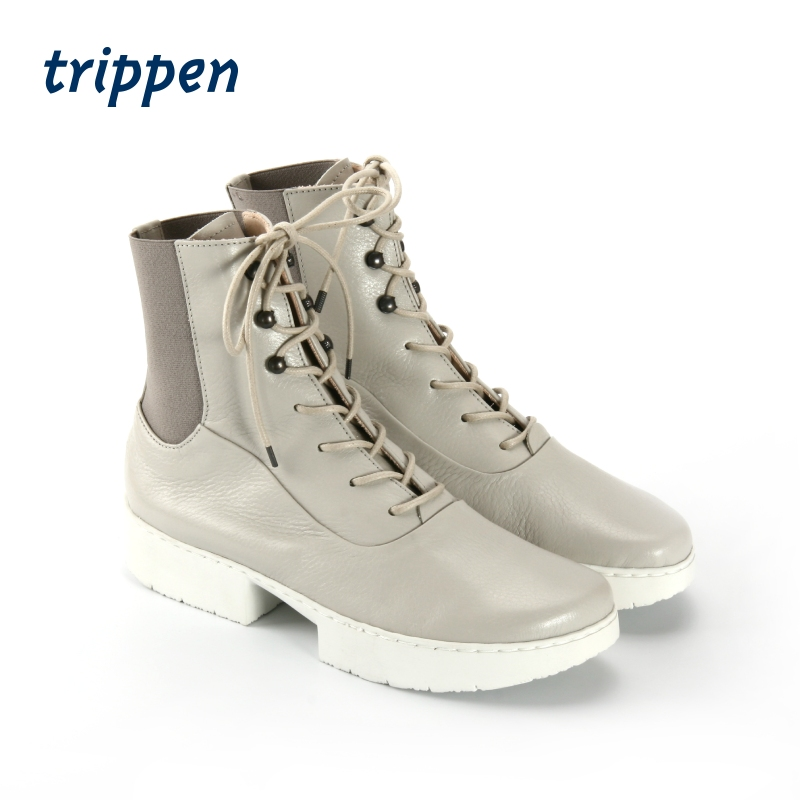 Trippen German design handmade 2020 couple short boots lace up square heel handmade cow leather shoes shuttle