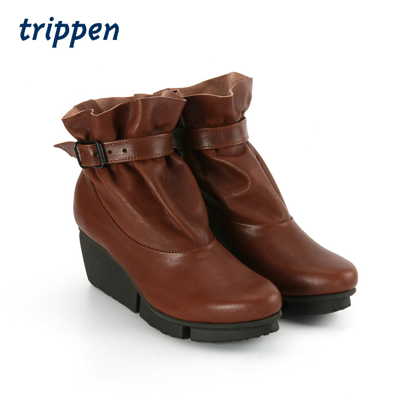 Trippen German designer handmade womens short boots buckle slope heel casual comfortable light luxury leather boots clasp