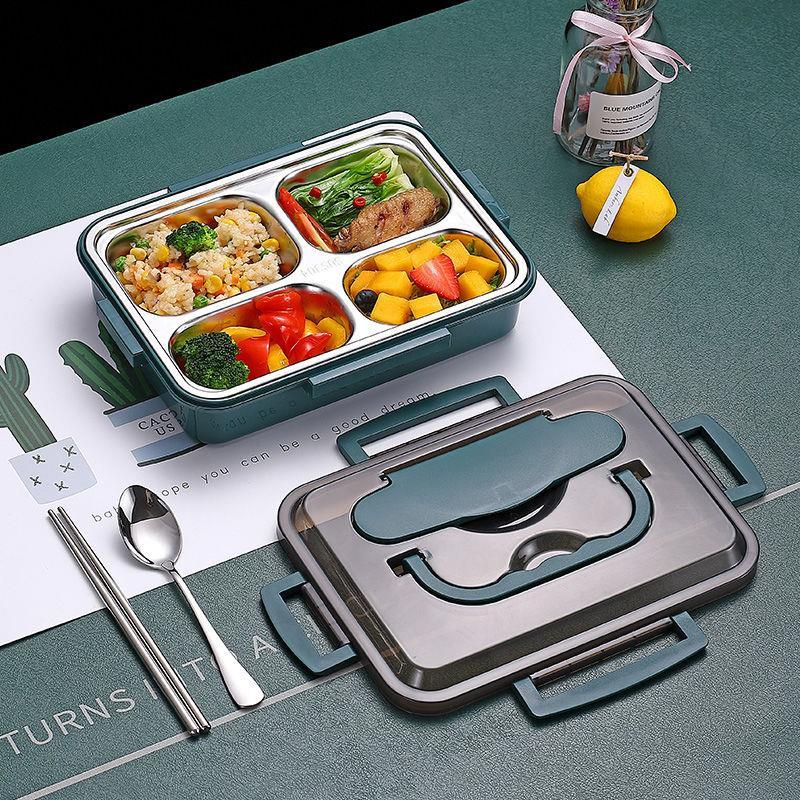 分隔型便当盒格型便携带盖可洗便当包内格餐盒少女装饭外带密封。