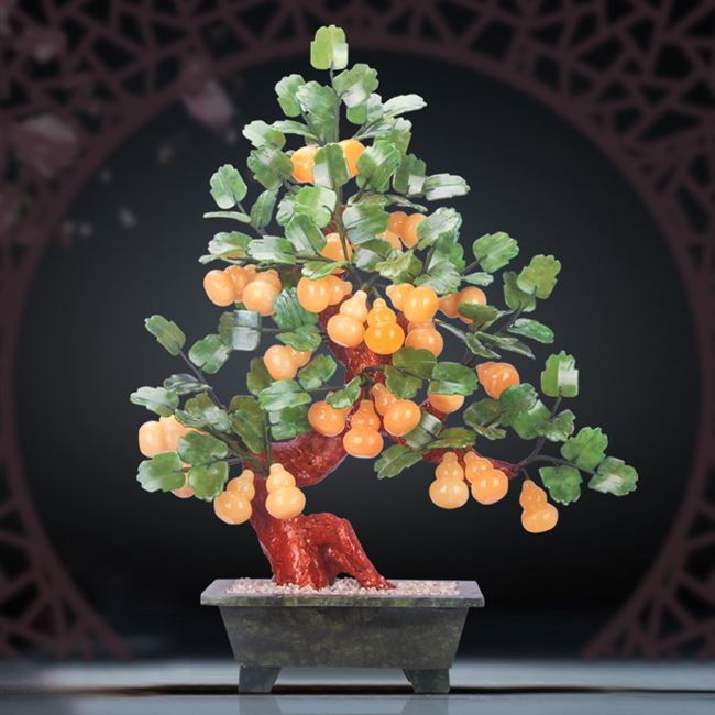 Natural Topaz gourd jade porch new Chinese living room crafts home bonsai decorations bonsai ornaments