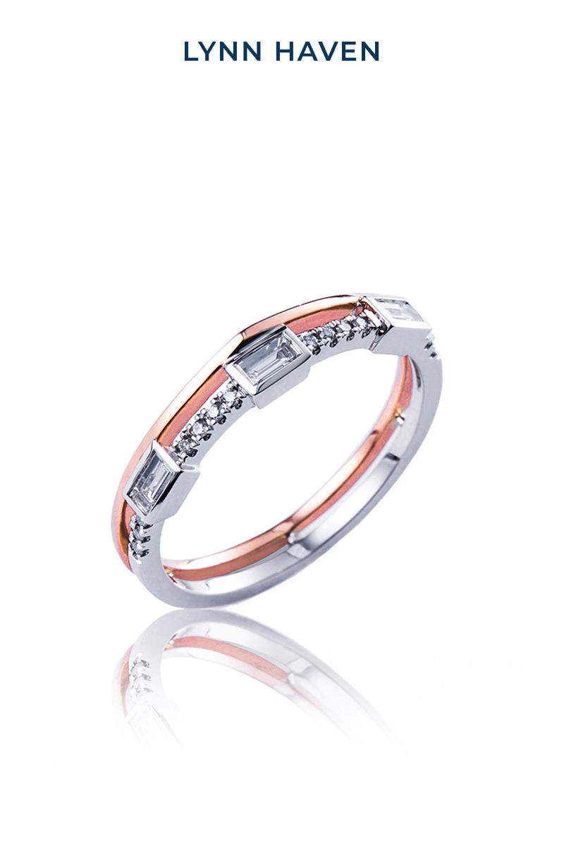 Lynnhaven fashion jewelry double layer 18K gold ring with diamond ring for women