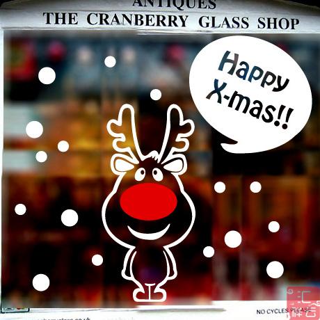 圣诞贴纸橱窗贴玻璃门贴店铺装饰窗花窗贴玻璃贴纸窗滑稽小鹿