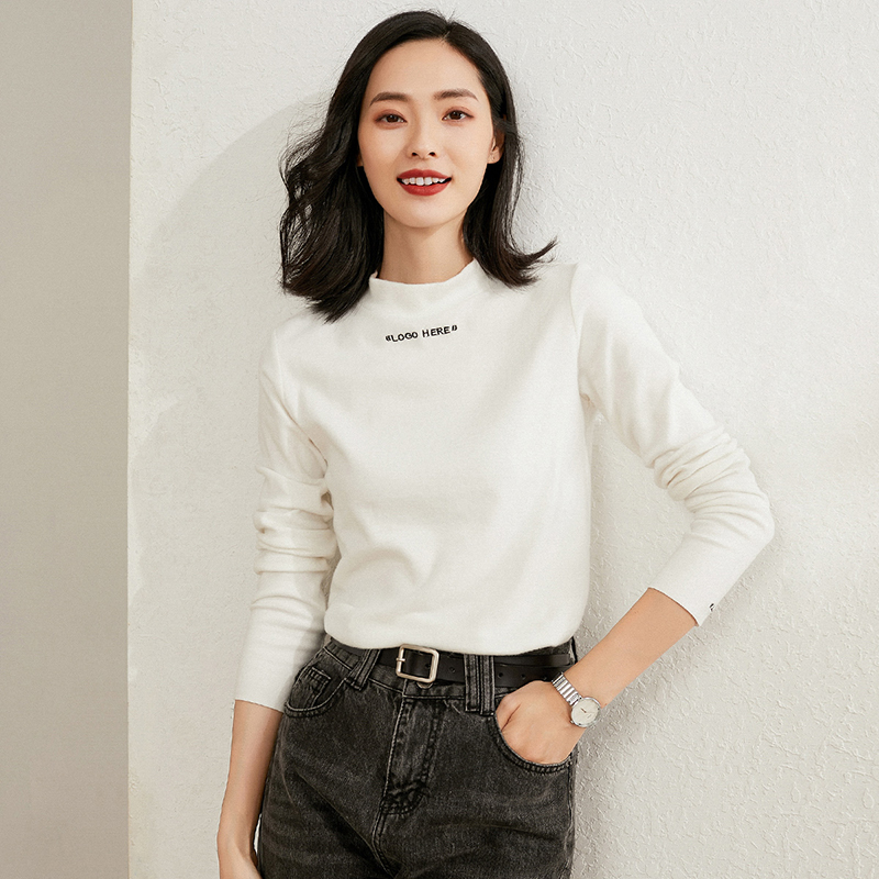 Half high collar long sleeve T-shirt womens wear 21 early spring foreign style versatile letter matte thin base coat