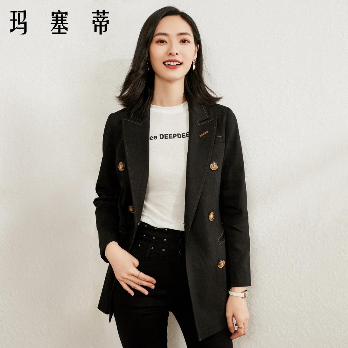 牛仔外套女短款春款长袖西装领宽松小个子韩版黑色宽松开衫上衣
