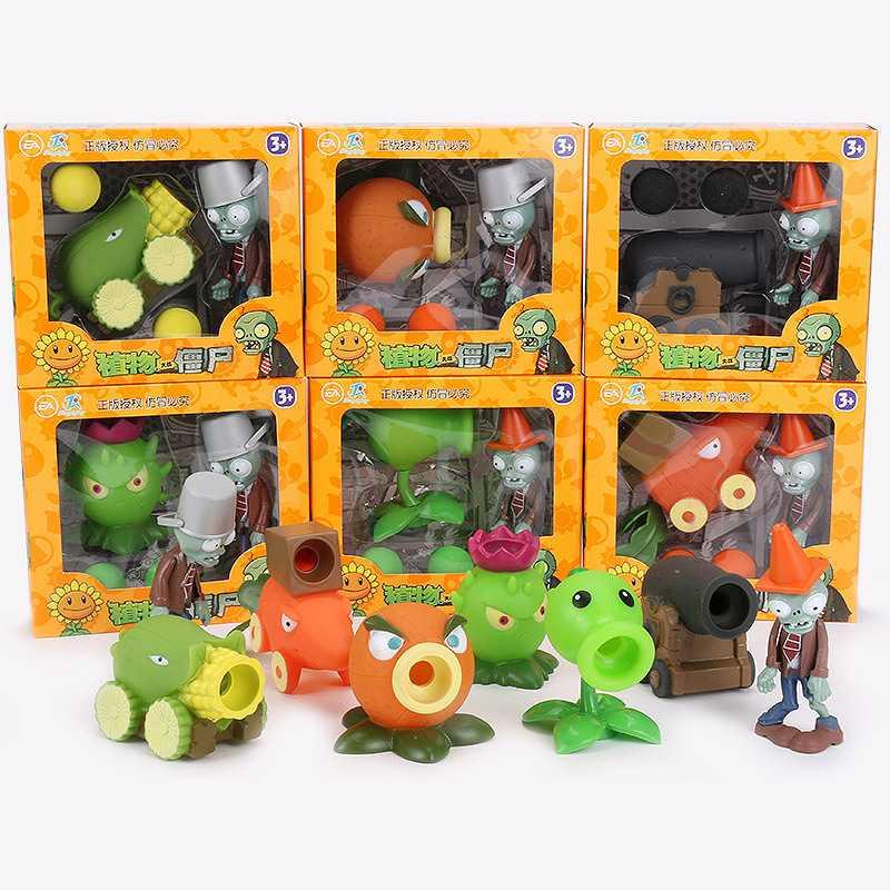 . Plant war zombie toy set 2 soft glue corn cannon charged grapefruit carrot chariot Guide
