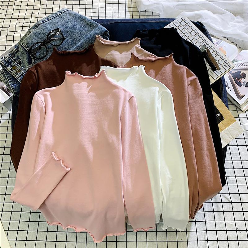 2020秋季新款半高领纯色长袖T恤女修身显瘦打底衫ins百搭学生女衣