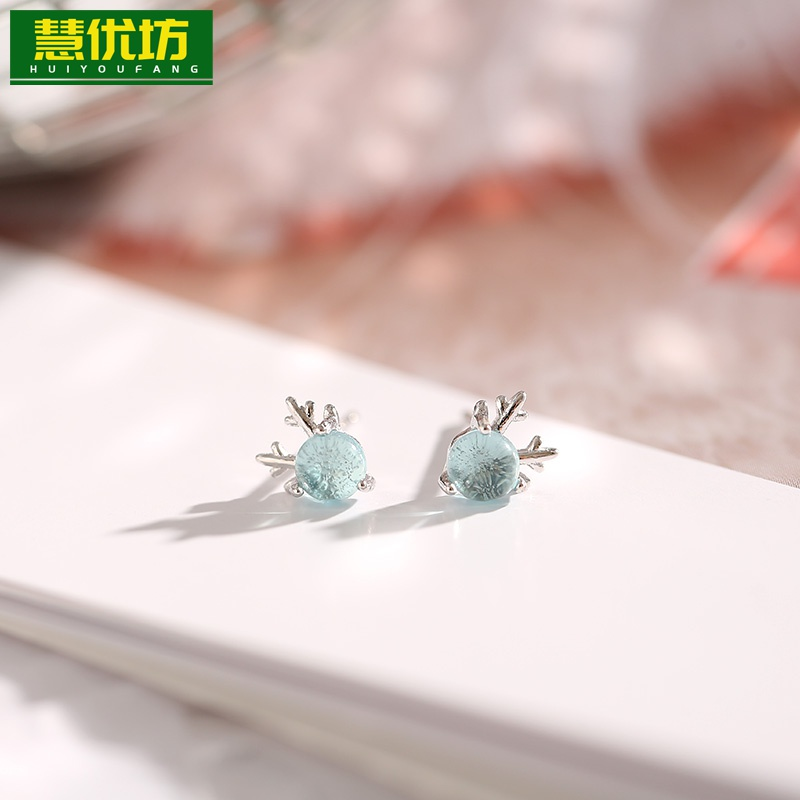 925 sterling silver one deer with your earrings simple and small fairy Earrings personality versatile girl antler ear clip