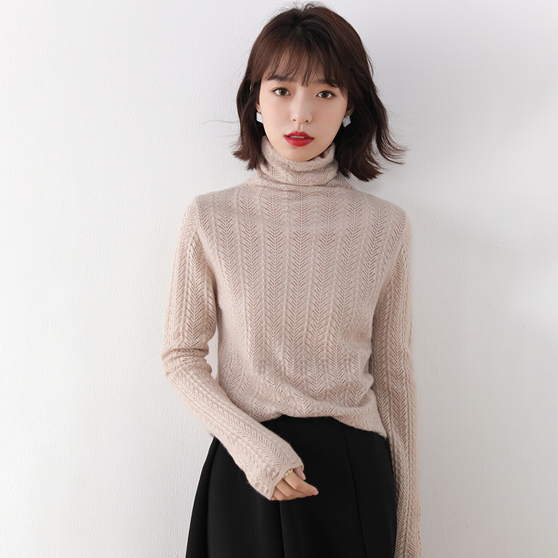 Queting hollow pile neck cashmere T-shirt slim fit and thin sleeve loose sleeve versatile sweater bottom coat
