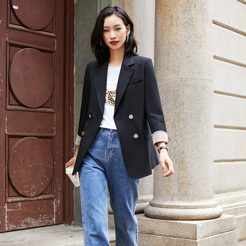 Womens design sense of suit coat niche: New Korean loose and drooping style professional suit top in autumn 2020