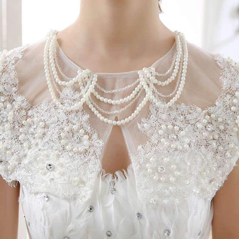 Bridal shoulder chain jewelry lace Pearl crystal shoulder chain necklace wedding dress accessories accessories shoulder cape