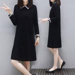 秋装2020年新款女宽松显瘦时尚休闲百褶裙中长款黑色长袖连衣裙子