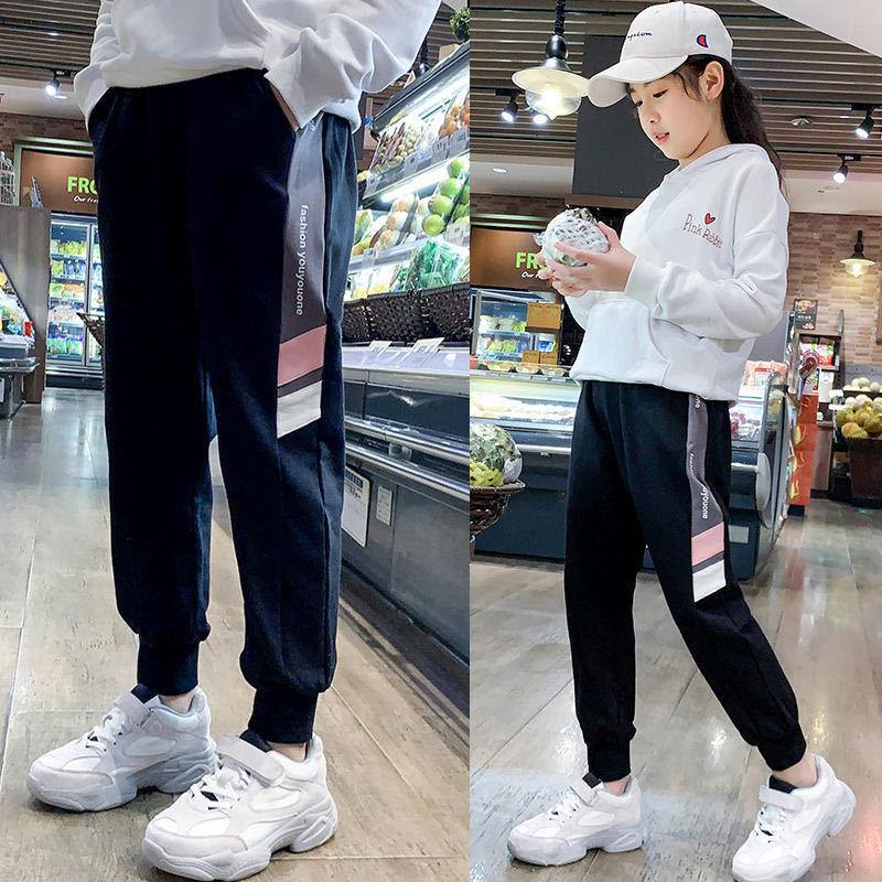 女童裤子运动裤春秋外穿2021新款儿童休闲女孩中大童长裤束脚裤