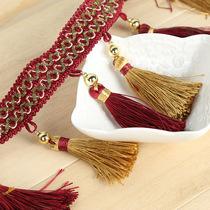 门帘挂帘流苏装饰配件辅料中式古典喜庆窗帘装饰花边双色吊穗定制