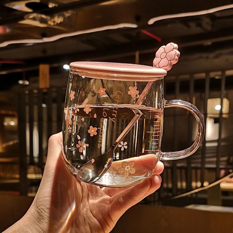 日系樱花玻璃杯带盖勺女学生韩版可爱网红马克杯女ins家用水杯子