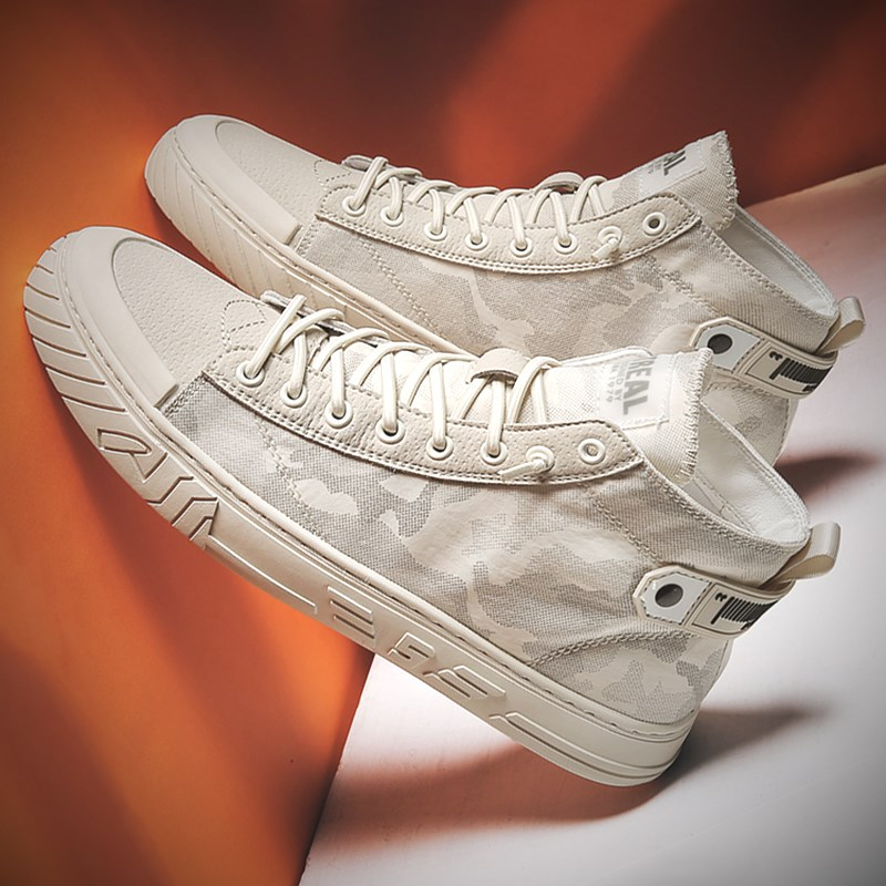 Mens shoes summer 2021 new pattern cloth shoes high top breathable canvas small white shoes mens leisure middle top board shoes mens shoes