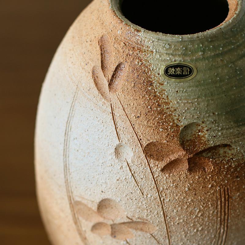 日本FY日本进口 信楽烧手作粗陶雕花台面花器 信乐烧窑变花瓶