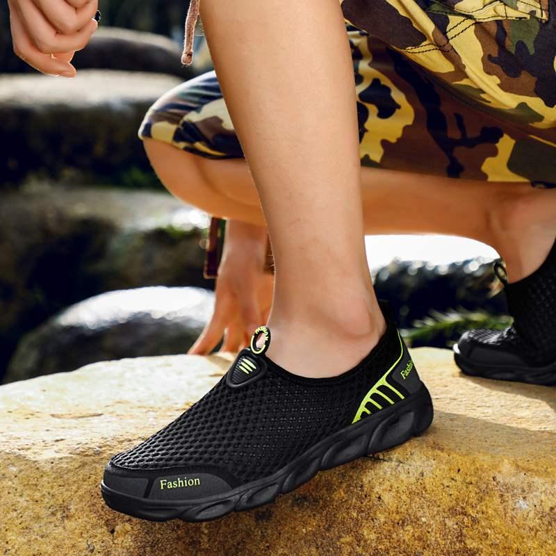 Full mesh mens breathable mesh shoes summer tourism amphibious quick dry wading anti slip River shoes light mesh mens shoes