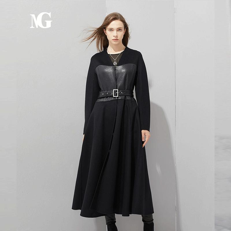 Ng tweed coat chest leather stitching design leather belt waist length dress wool coat women