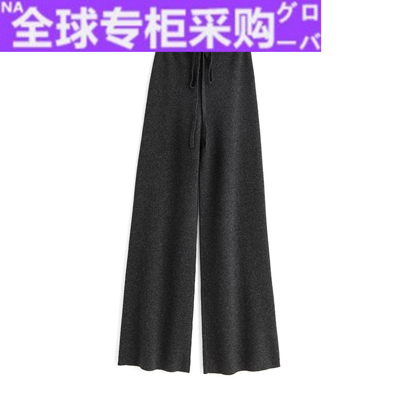 Japanese HR sag Chao thick pure cashmere wide leg pants womens wear pants loose knitting high waist straight tube