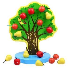 婴儿宝宝玩具摘果果粘粘玩具木制磁性果树宝宝摘水果益智玩具
