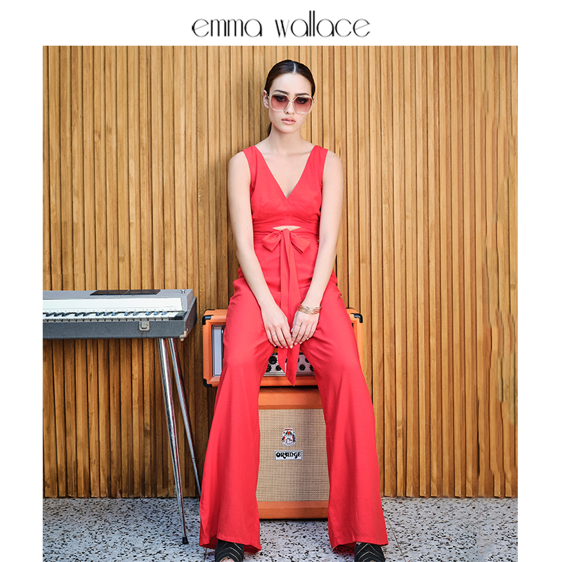 Emma Wallace red wide leg Jumpsuit with cut-out deep V-neck design casual pants 2020 NEW