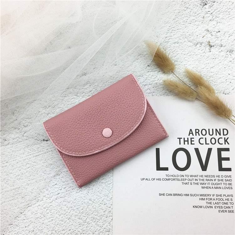 Small zero wallet womens short 2020 new Korean folding soft wallet simple zipper ins FAIRY FASHION card bag
