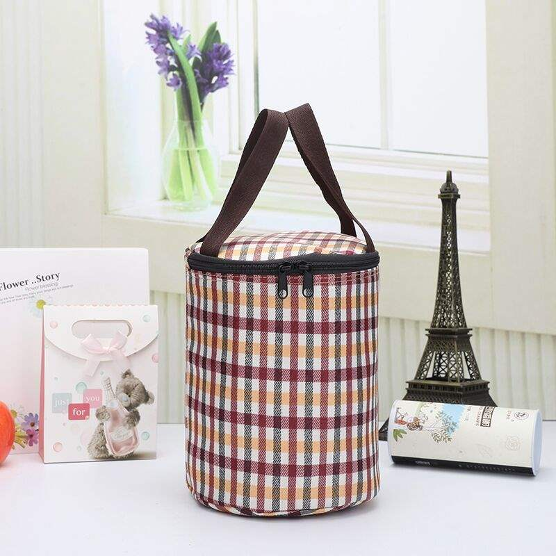 Round heat preservation lunch box bag heat preservation bag hand bag with rice canvas lunch bag thickened aluminum foil lunch box bag