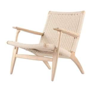 单人沙发椅北欧家用客厅藤编扶手靠背椅日式民宿麻绳实木休闲椅