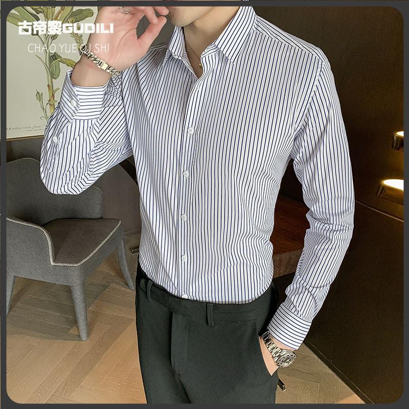 Gudili gudili mens striped long sleeve shirt Korean version versatile handsome business bottoming upper inch slim fit version