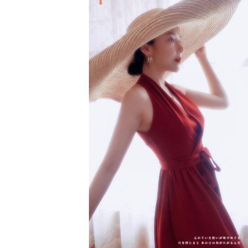 港风复古超有女人味挂脖无袖高腰气质系带中长款连衣裙小红裙.