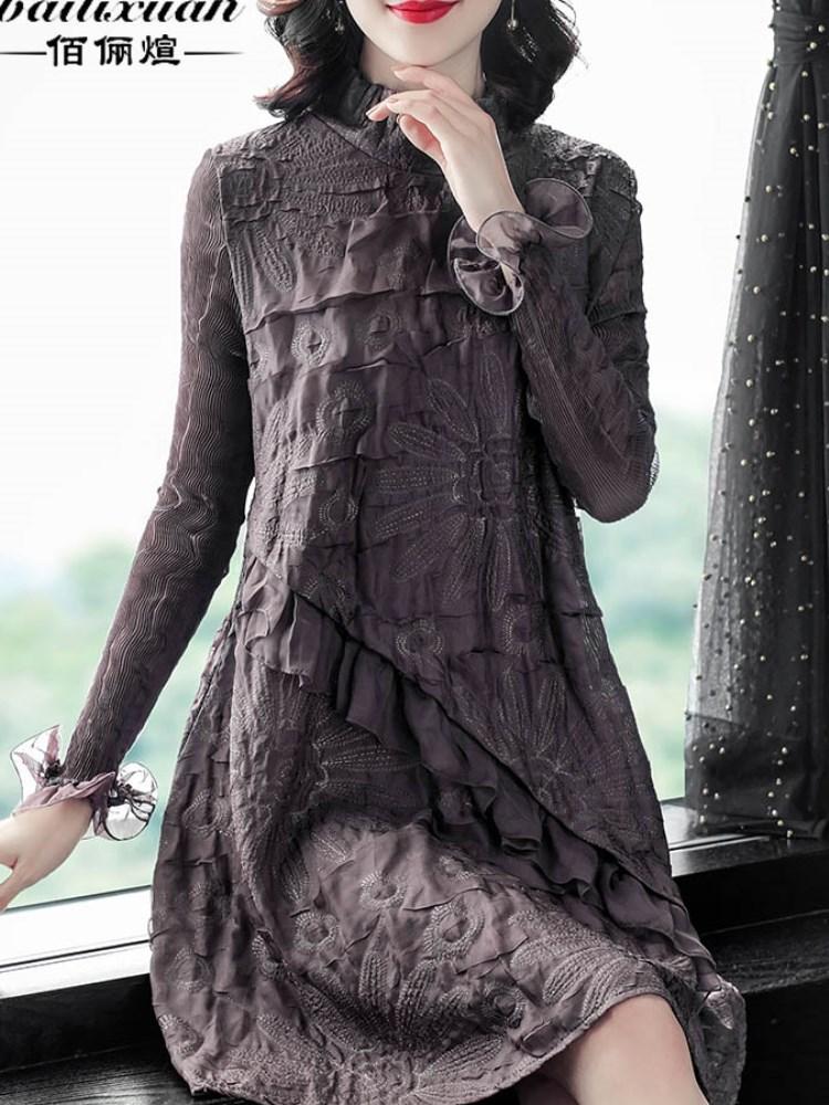 胖MM刺绣纱打底衫女春秋显瘦遮肚洋气内搭宽松雪纺上衣中长款