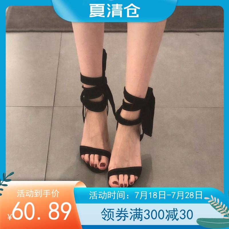 2021新款欧美小露趾一字带绒面蝴蝶结绑带超高跟鞋细跟凉鞋女夏