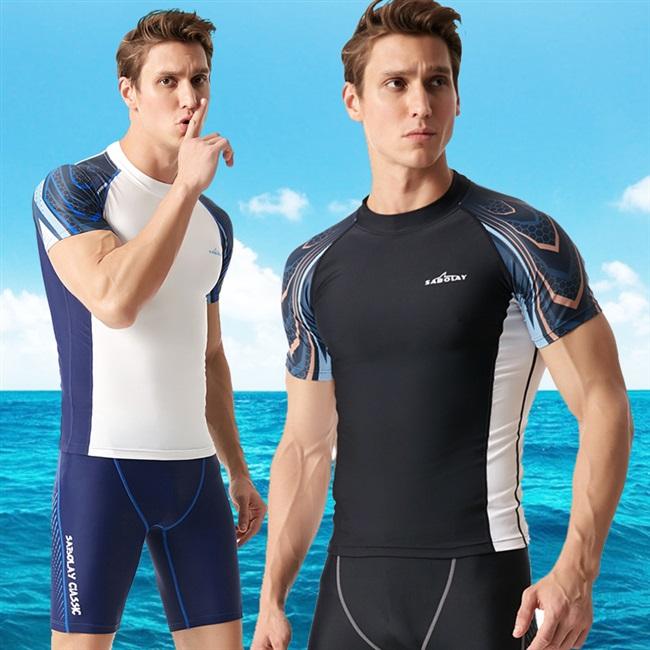 新款游泳衣男防晒分体短袖弹力紧身潜水服速干冲浪浮潜泳装