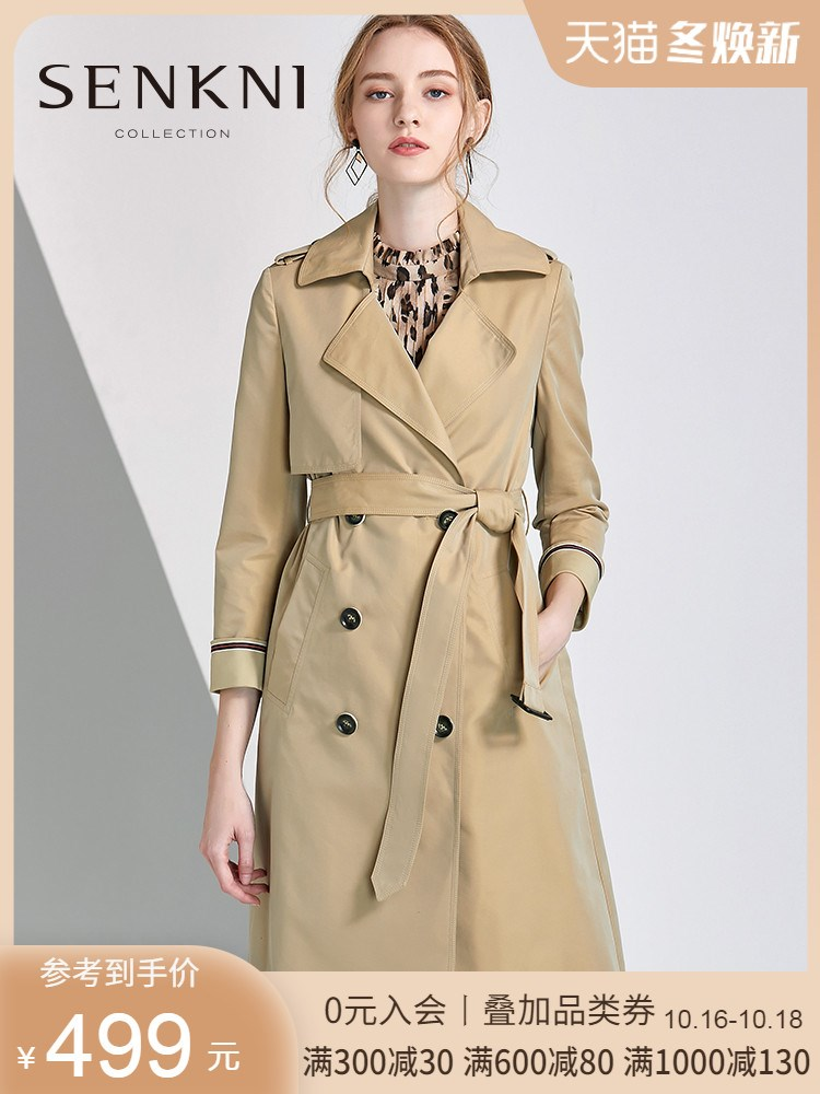 圣可尼2020春新品英伦卡其色双排扣风衣中长款修身外套女装03203