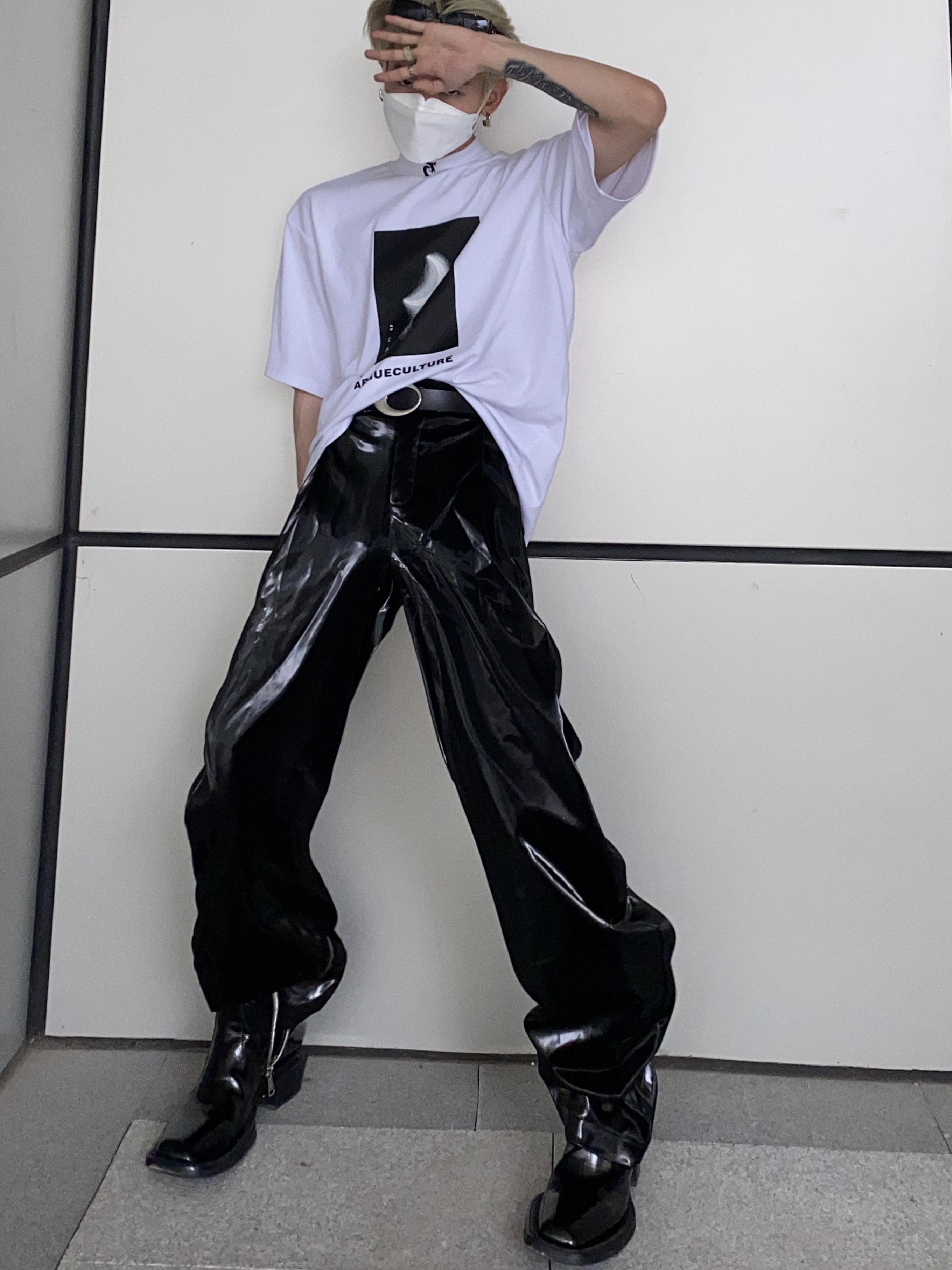Culture小众设计未来科技液体感皮裤闪光朋克宽松直筒裤ins炸街潮