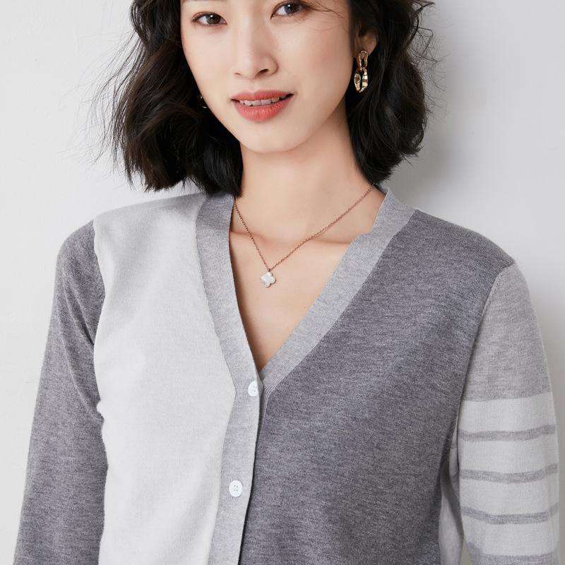 Spring and autumn wool sweater womens TB cardigan coat head Korean V-neck cashmere sweater star same wool versatile