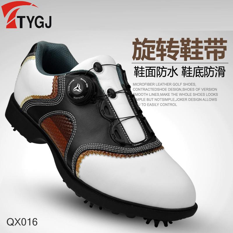TTYGJ新品高尔夫球鞋 男款防水头层皮革 旋转鞋带 活动钉鞋子