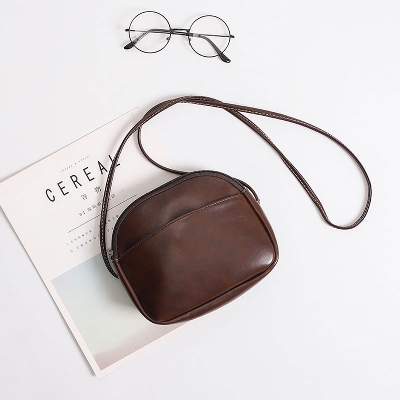 . Japanese soft leather bag ins student bag summer female Mini retro versatile simple forest One Shoulder Messenger Bag
