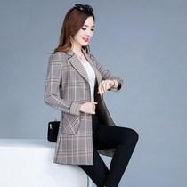 格子外套女春秋季2019新款修身韩版中长款风衣大码显瘦早秋上衣潮