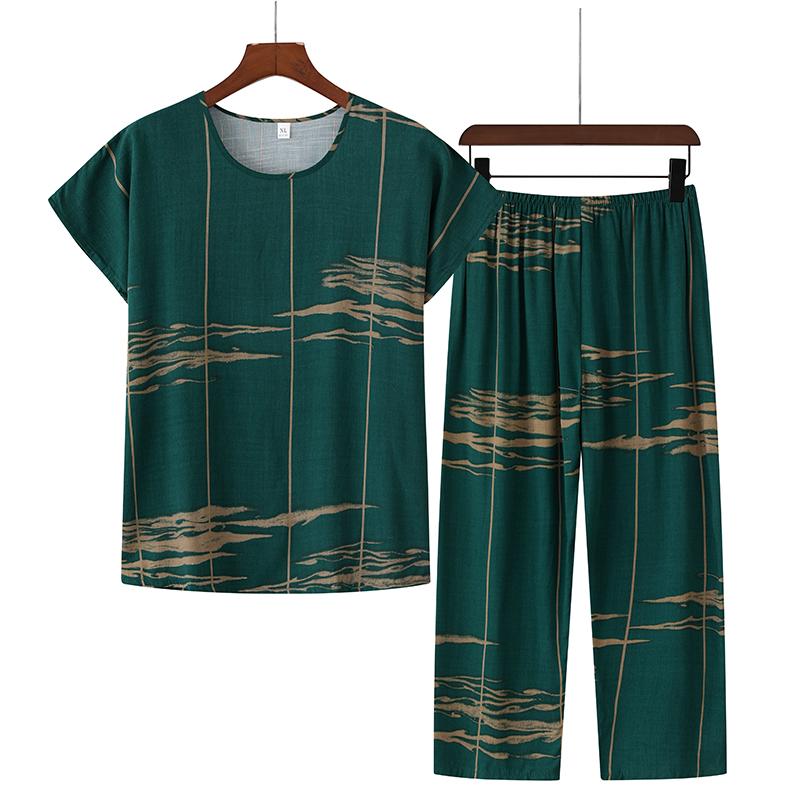 中老年人夏季纯棉麻套装休闲大码妈妈洋气女装两件套