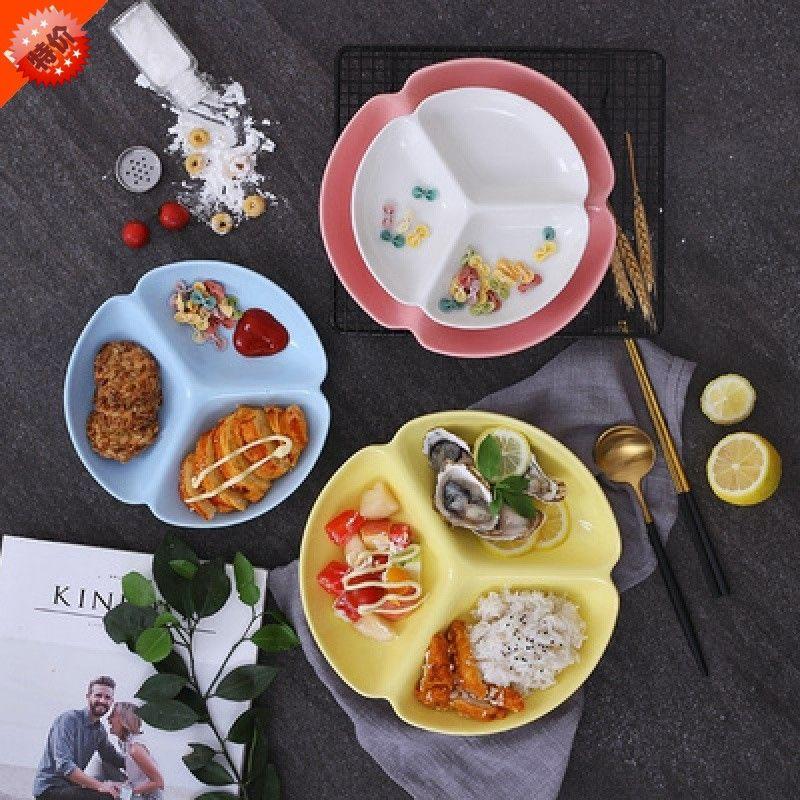 格盘子格三餐餐具创意日式玻璃盘分姜格盘蒜双拼分盆两陶瓷格葱菜
