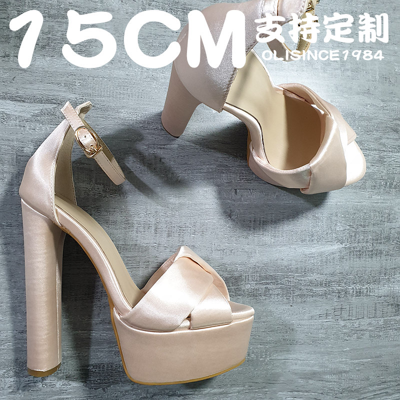 14 nude thick heel high heels champagne single shoes annual meeting silk wedding shoes evening dress shoes Bridesmaid host