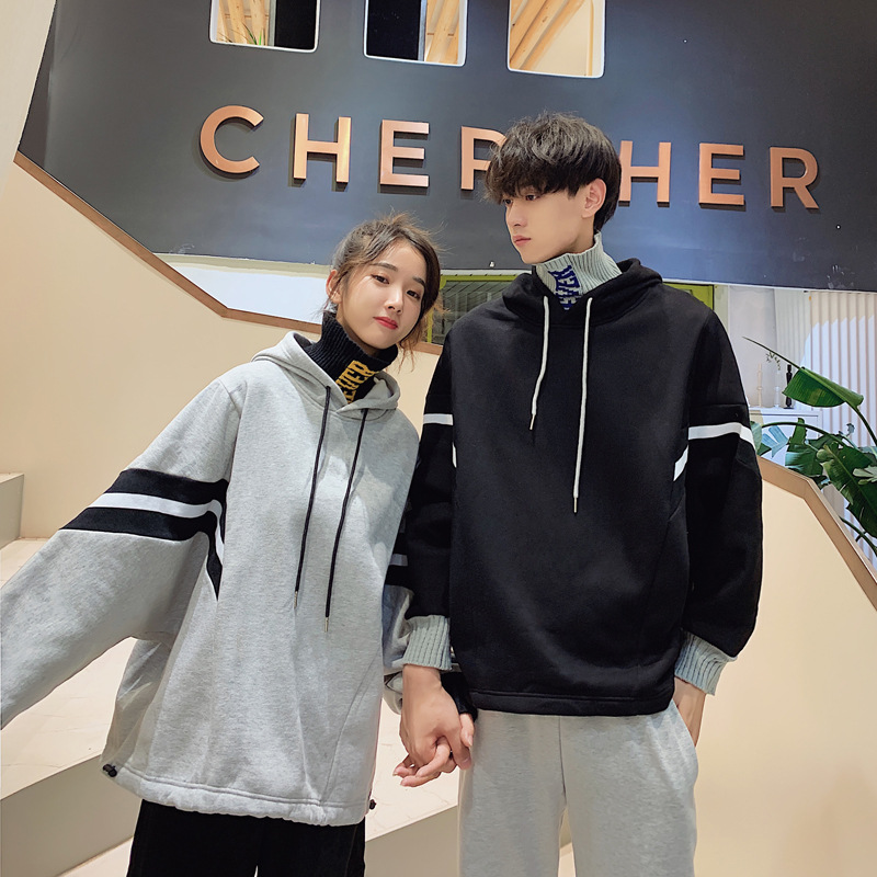 Couples wear high collar and two pieces of sweater