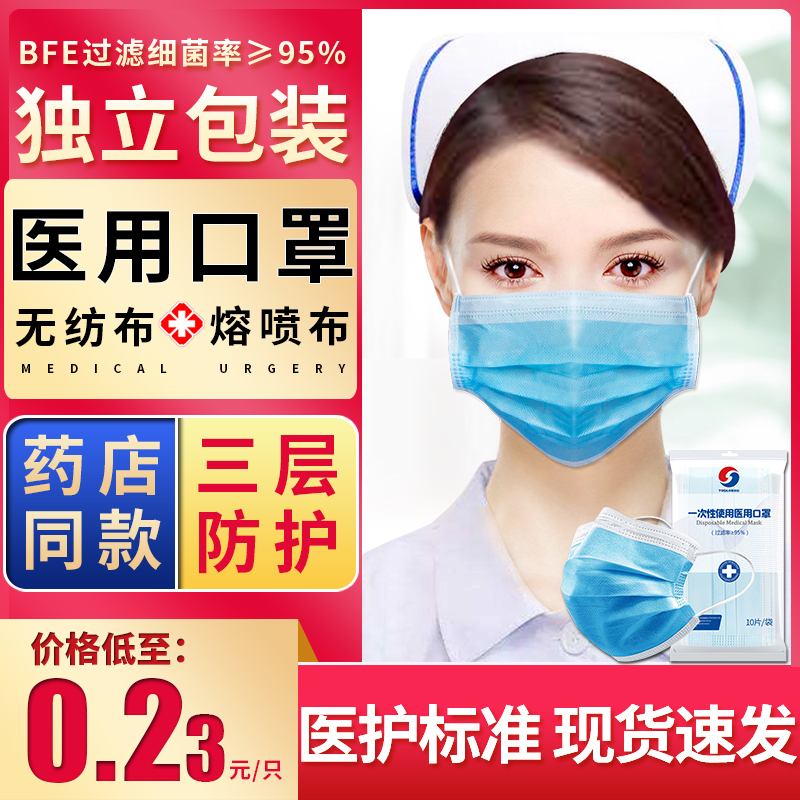 Medical surgical mask disposable medical mask three-layer protection for doctors
